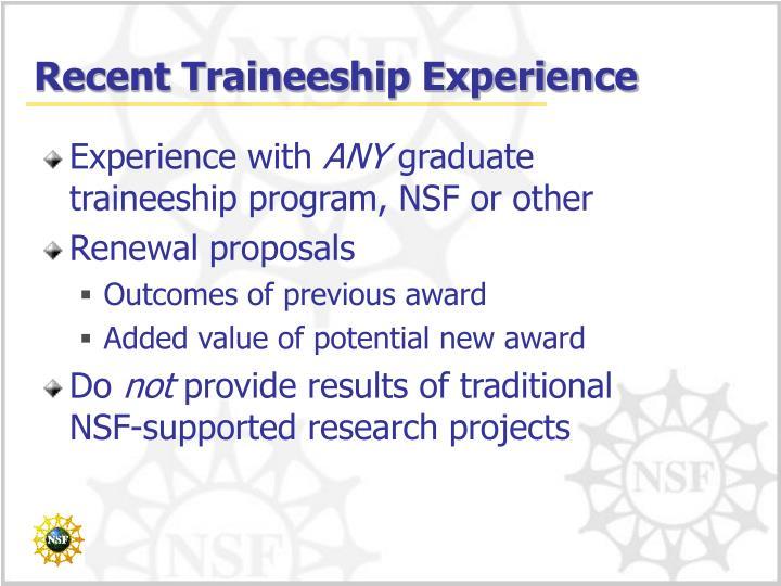 Recent Traineeship Experience