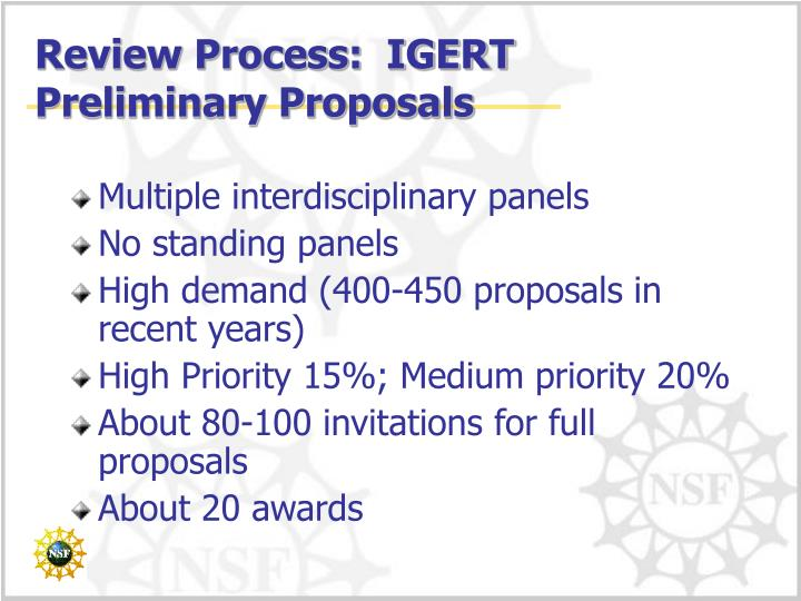 Review Process:  IGERT Preliminary Proposals
