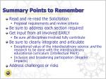 summary points to remember