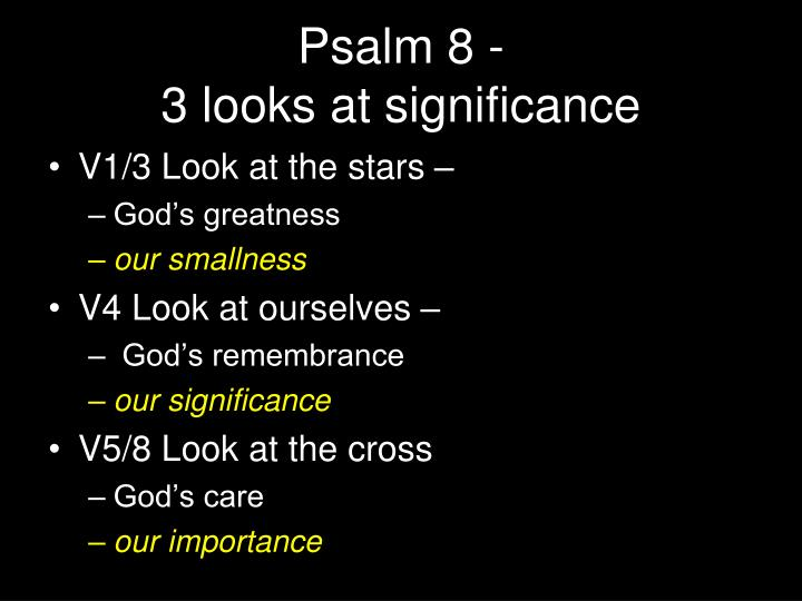 Psalm 8 3 looks at significance