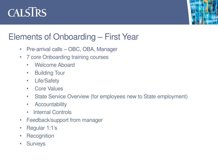 Elements of Onboarding – First Year
