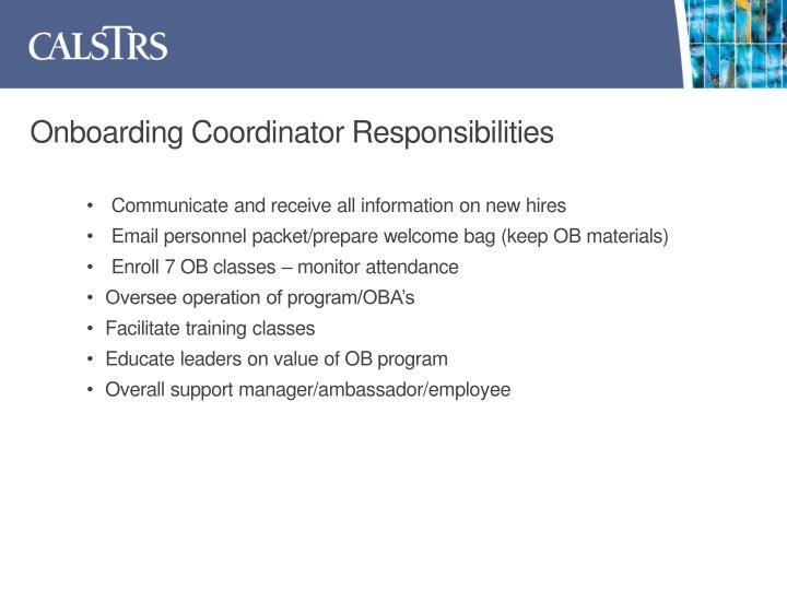 Onboarding Coordinator Responsibilities