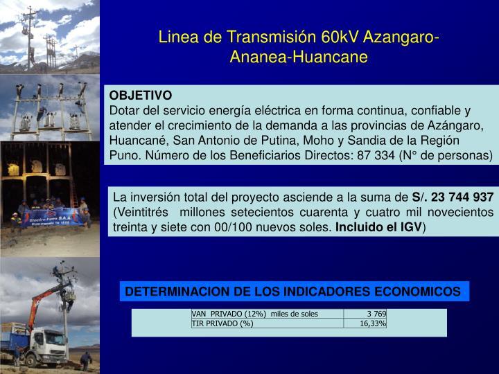 Linea de Transmisión 60kV Azangaro-Ananea-Huancane