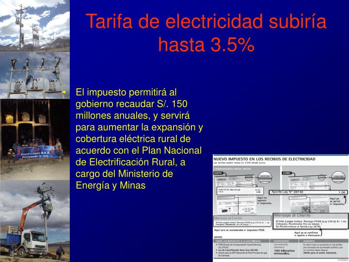 Tarifa de electricidad subiría hasta 3.5%