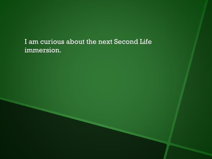 I am curious about the next Second Life immersion.