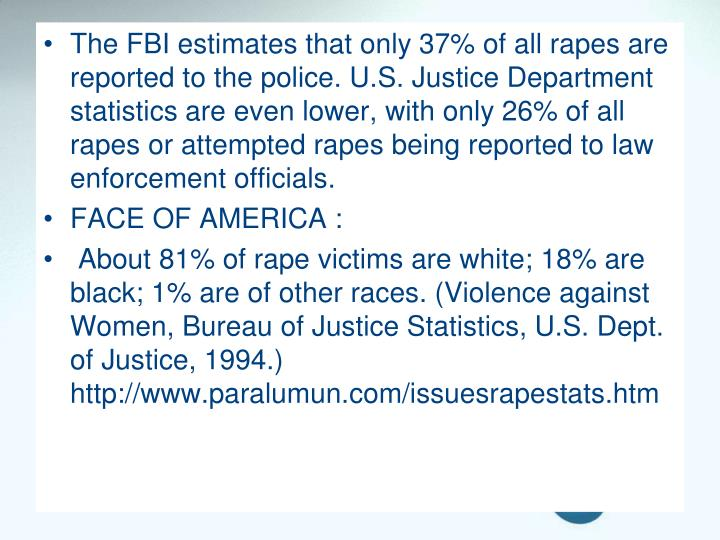 The FBI estimates that only 37% of all rapes are reported to the police. U.S. Justice Department statistics are even lower, with only 26% of all rapes or attempted rapes being reported to law enforcement officials.