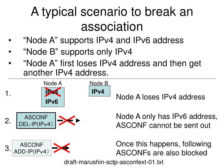 A typical scenario to break an association