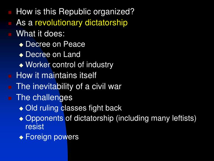 How is this Republic organized?