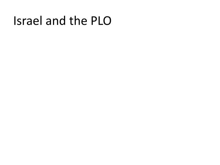 Israel and the PLO