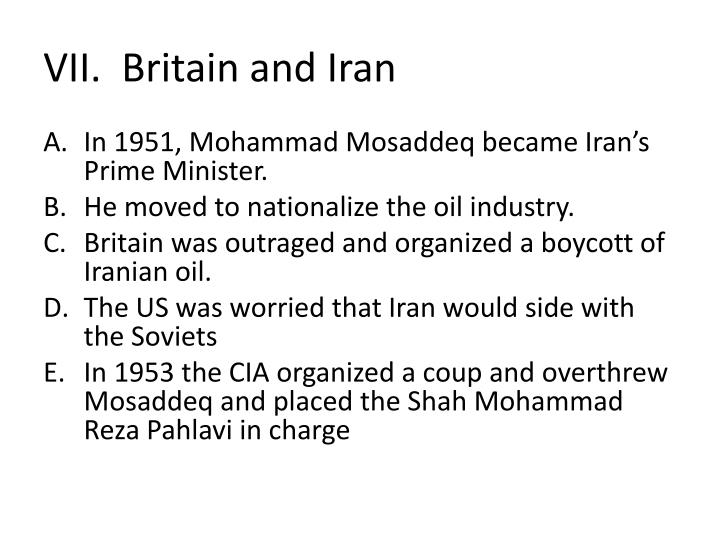VII.  Britain and Iran