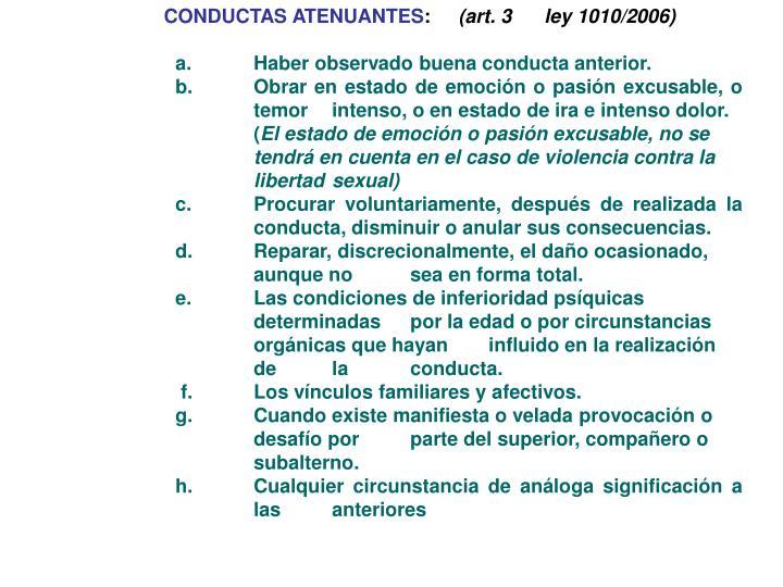 CONDUCTAS ATENUANTES