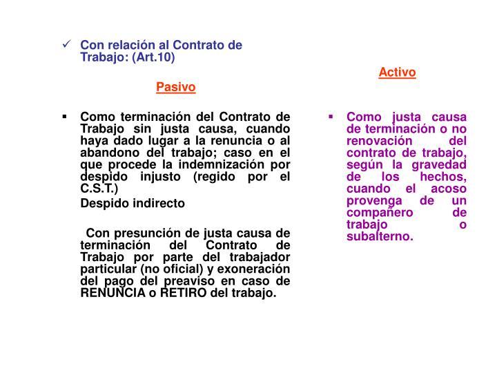 Con relación al Contrato de Trabajo: (Art.10)