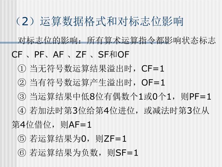 (2)运算数据格式和对标志位影响