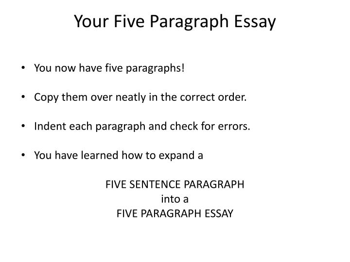 Your Five Paragraph Essay