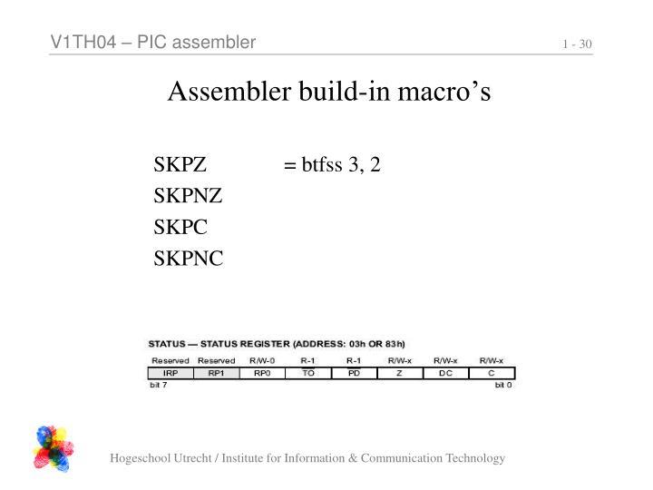 Assembler build-in macro's