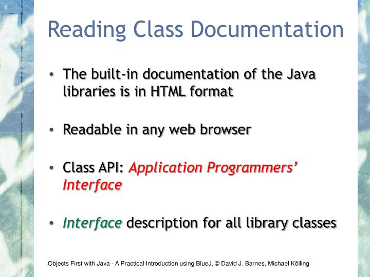 Reading Class Documentation