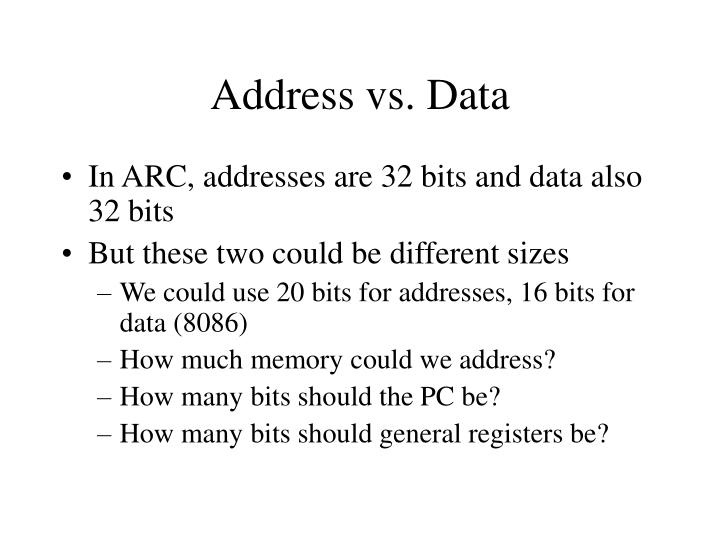 Address vs. Data