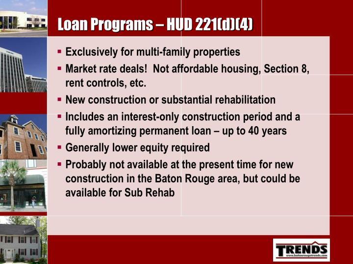 Loan Programs – HUD 221(d)(4)