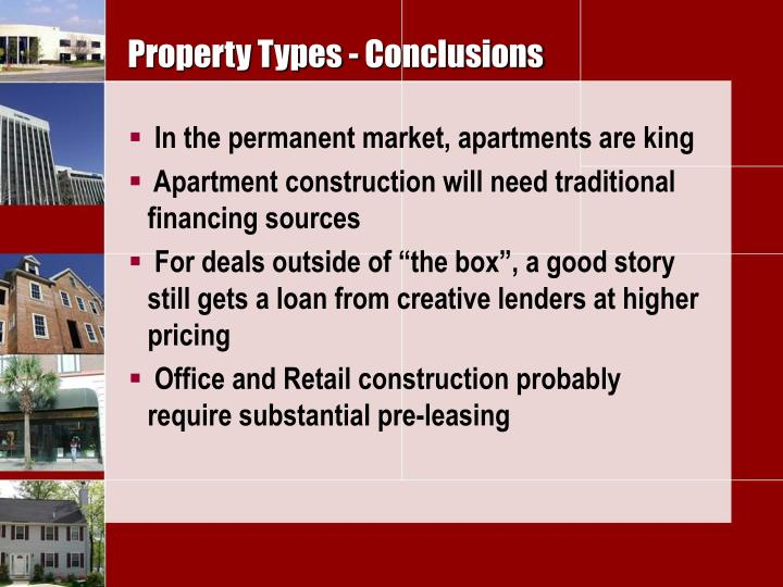 Property Types - Conclusions