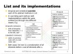 list and its implementations