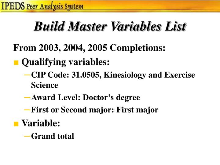 Build Master Variables List