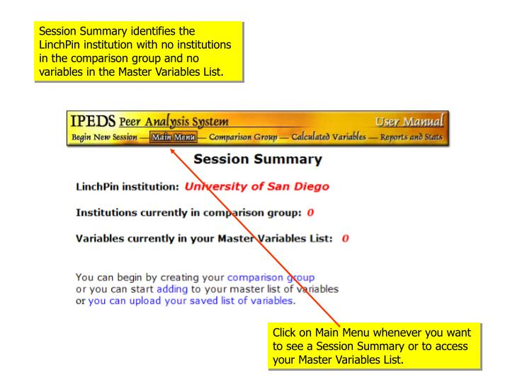 Session Summary identifies the LinchPin institution with no institutions in the comparison group and no variables in the Master Variables List.