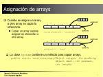asignaci n de arrays