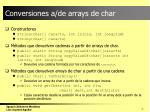 conversiones a de arrays de char