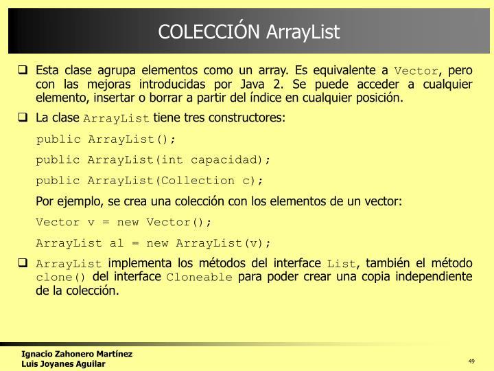 COLECCIÓN ArrayList
