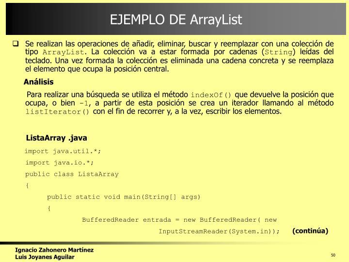 EJEMPLO DE ArrayList