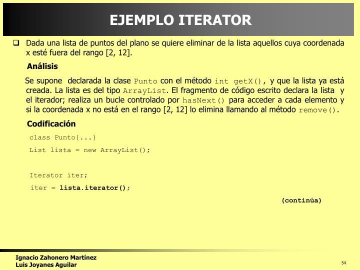 EJEMPLO ITERATOR