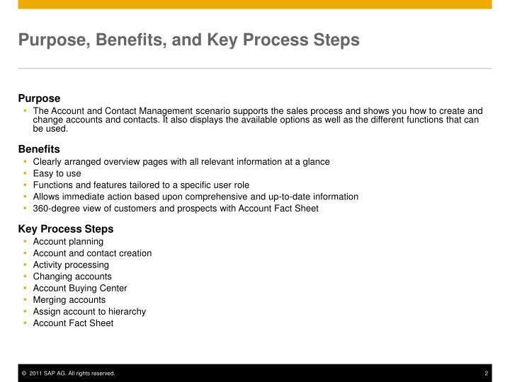 Purpose benefits and key process steps