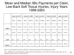 mean and median iibs payments per claim low back soft tissue injuries injury years 1999 2003