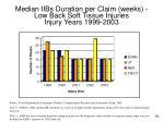 median iibs duration per claim weeks low back soft tissue injuries injury years 1999 2003