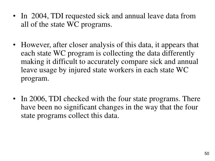 In  2004, TDI requested sick and annual leave data from all of the state WC programs.