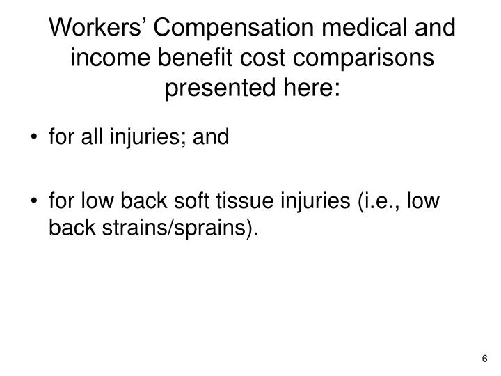 Workers' Compensation medical and income benefit cost comparisons presented here: