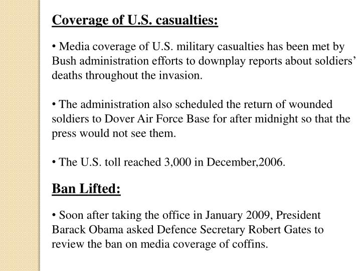 Coverage of U.S. casualties:
