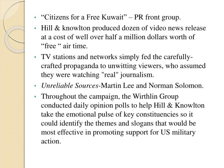 """Citizens for a Free Kuwait"" – PR front group."