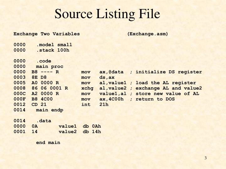 Source listing file