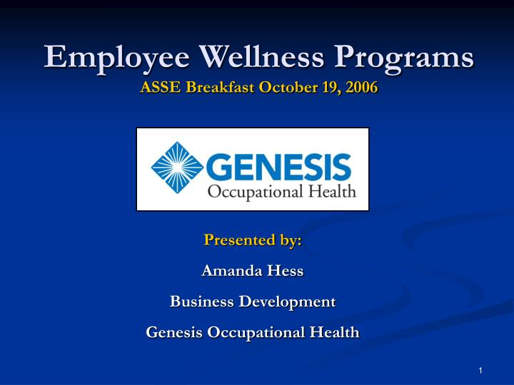 Employee wellness programs asse breakfast october 19 2006