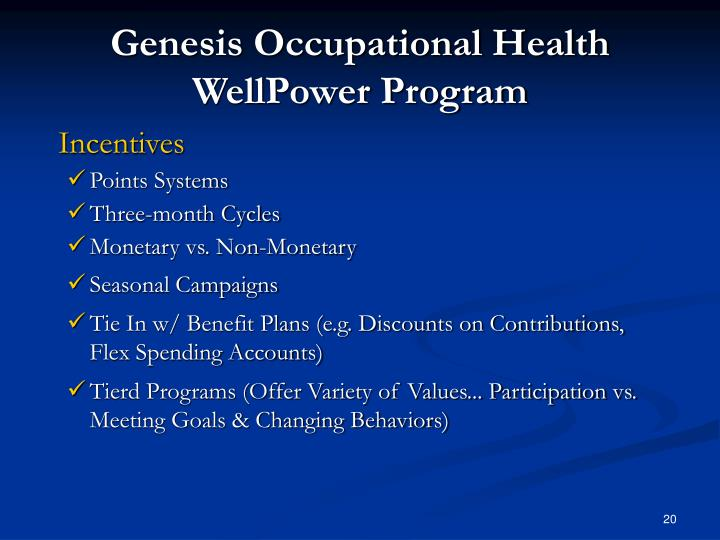 Genesis Occupational Health WellPower Program