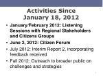 activities since january 18 2012
