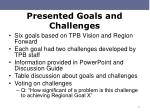 presented goals and challenges