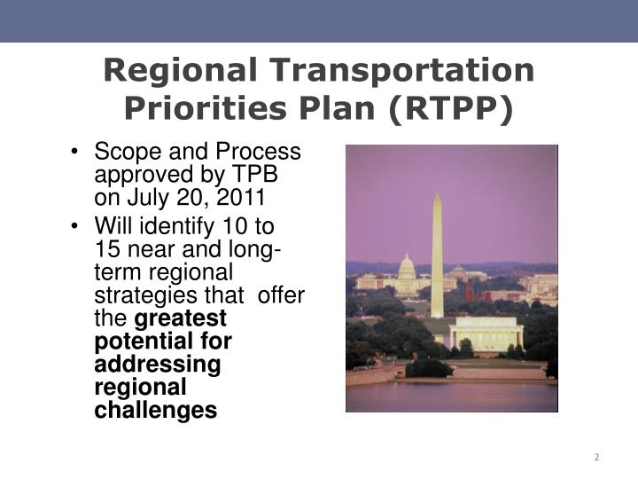Regional transportation priorities plan rtpp