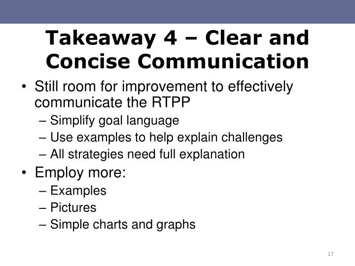 Takeaway 4 – Clear and Concise Communication
