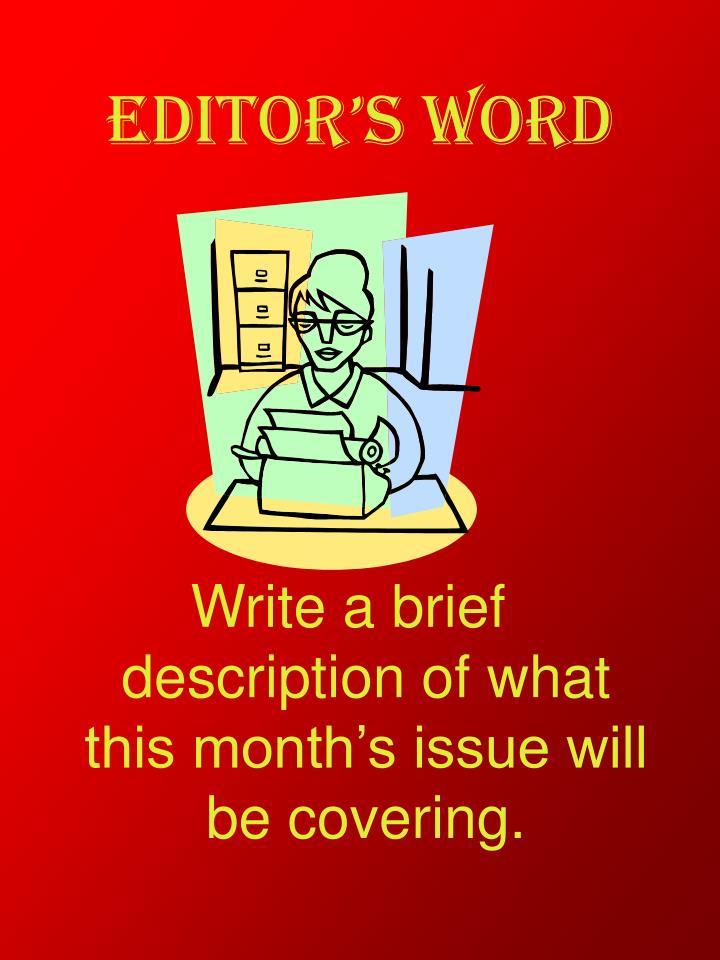 Editor's Word