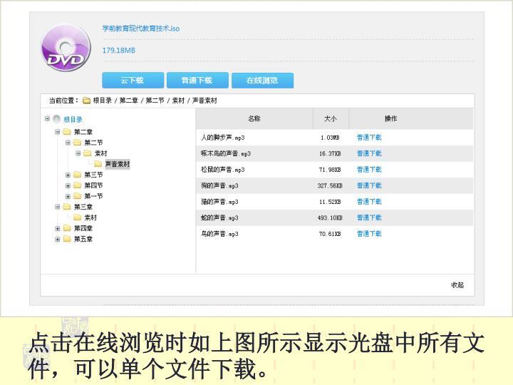 点击在线浏览时如上图所示显示光盘中所有文件,可以单个文件下载。