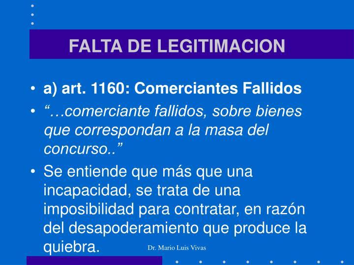 FALTA DE LEGITIMACION