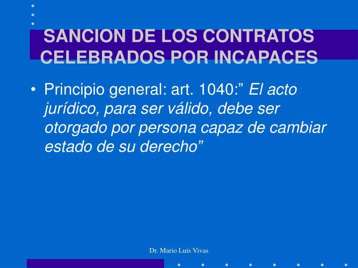 SANCION DE LOS CONTRATOS CELEBRADOS POR INCAPACES