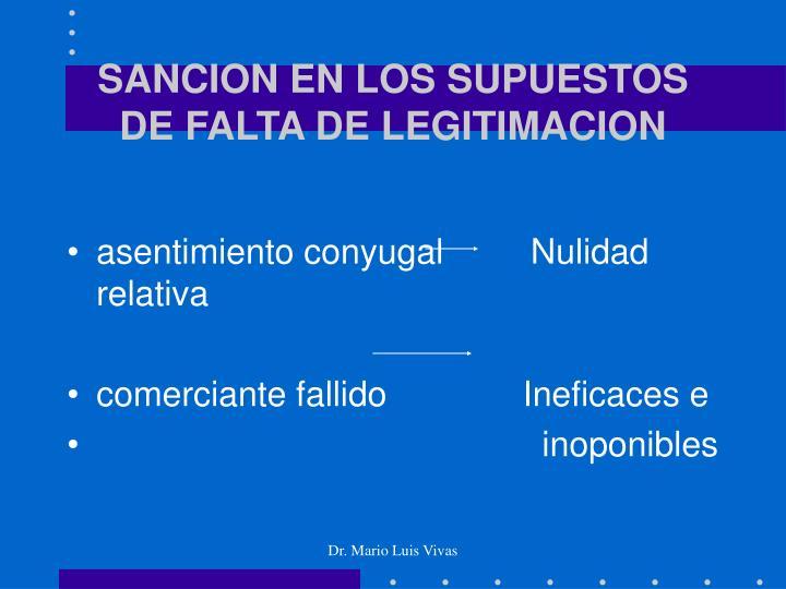 SANCION EN LOS SUPUESTOS DE FALTA DE LEGITIMACION